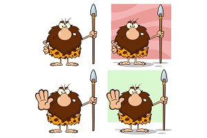Funny Male Caveman Vector Collection