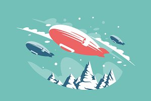 Airships in air above snowy mountain