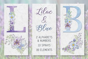 Lilac and blue floral alphabets