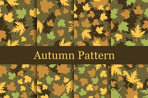 Autumn leaves seamless patterns