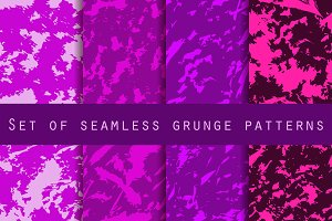 Grunge set of seamless pattern