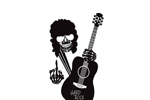 Guitar player skull middle finger