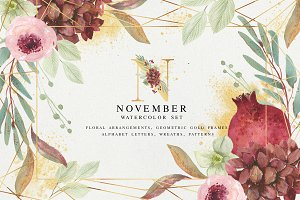 November - watercolor set