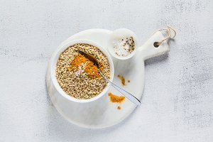 whole-grain rice with turmeric in a