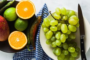 colored vegetables and fruits on the