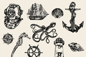 10 Nautical vector illustrations