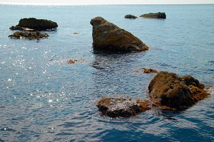 Sea landscape with rocks and water s