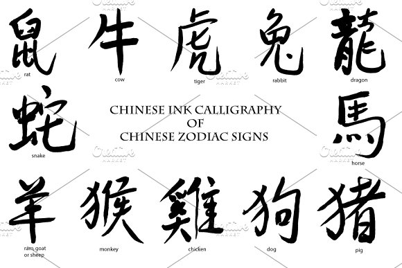 Ink Calligraphy Chinese Zodiac Sign Illustrations Creative Market