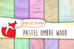 Pastel Ombre Wood Digital Paper
