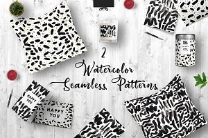 2 Watercolor Seamless Patterns