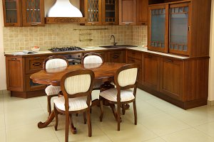 Wooden and brown kitchen