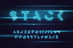 Vector neon futuristic typeface