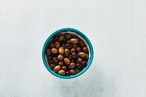 olives from a Kalamata in a bowl on