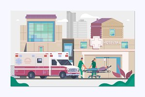Medicine ambulance concept in flat