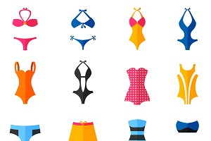Woman swim suits flat icons set