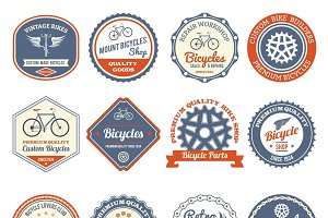 Bicycles club retro emblems set