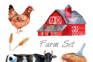 Watercolor concept farm set