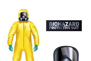 Biohazard protective suit and mask