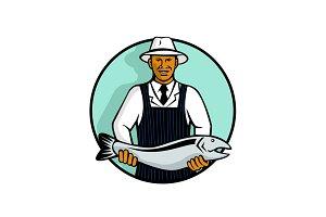 African American Fishmonger Holding