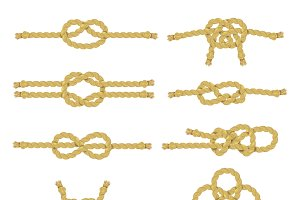 Rope knots color decorative icon