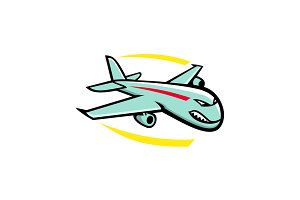 Angry Jumbo Jet Plane Mascot