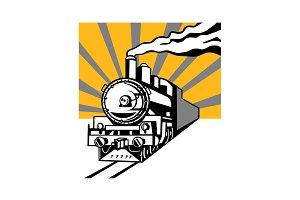 Steam Train Locomotive Sunburst Retr