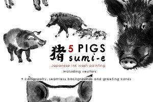 Pigs Sumi-e