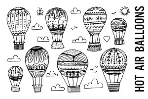 Hot Air Balloon Doodle Clipart