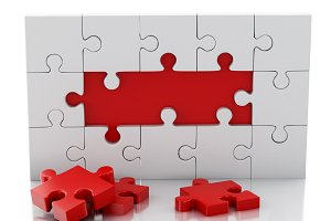 3d Jigsaw Puzzle. Business creativit