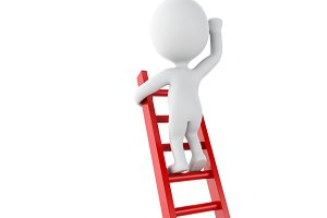 3d White people climbing ladder. Suc