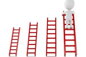 3d White people climbing ladder. Suc