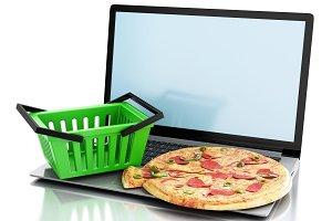 3d laptop. Online and Internet food