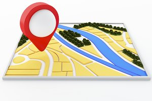 3d navigator map and pointer marker