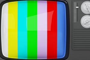 3d retro tv -colorful no signal back