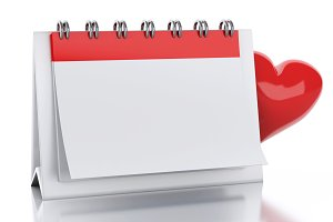 3d Calendar with red heart. Valentin