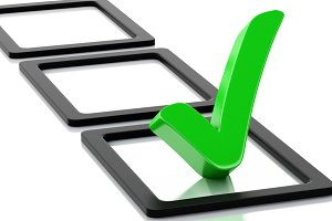 3d checklist with green check mark.