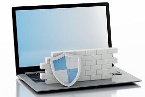 3d Laptop with brick wall. Firewall