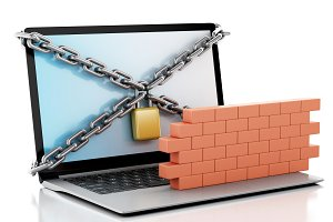 3d Laptop with lock and brick wall.