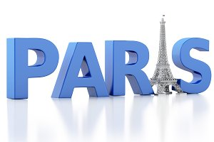 3d Paris word with eiffel tower.