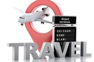 3d airport board and airplane. Trave