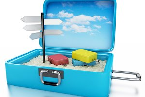 3d Travel suitcase. Summer holidays