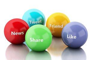 3d color bubbles with Social media a