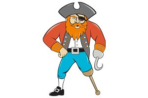 Captain Hook Pirate Wooden Leg Carto