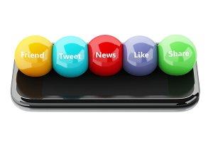 3d smartphone with social media bubb