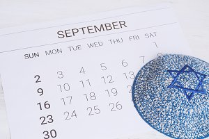 September calendar with kippah
