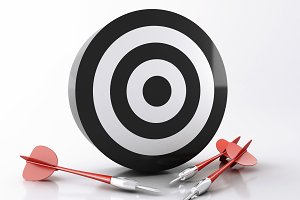 3d target with arrows. Success conce