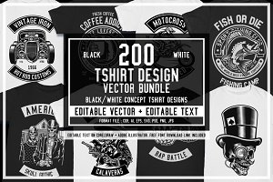 200 Vector Tshirt Designs ( B/W )