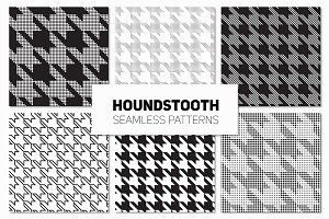 Houndstooth. Seamless Patterns Set