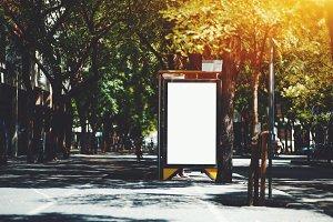 City blank billboard mockup