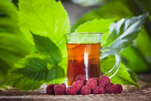 Berry tea made from raspberry